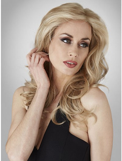 Lace Front Long Synthetic Hair Wavy Blonde Wig With Bangs