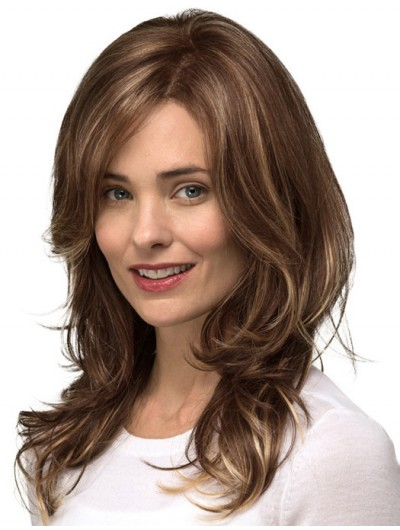 Lace Front Long Remy Human Hair Wavy Brown Wig Without Bangs