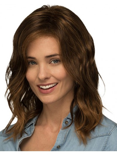Lace Front Long Synthetic Hair Wavy Brown Layered Wig