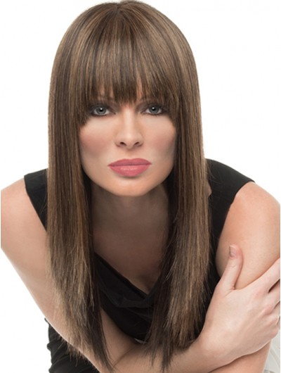 Capless Long Remy Human Hair Straight Wig With Bangs