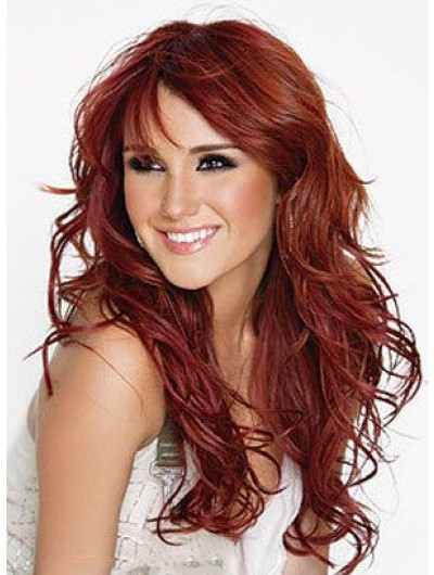 Capless Long Synthetic Hair Wavy Auburn Wig With Bangs