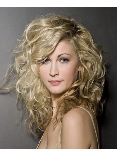 Capless Long Synthetic Hair Wavy Blonde Layered Wig