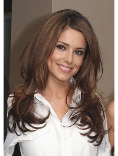 Lace Front Long Synthetic Hair Wavy Brown Wig Without Bangs