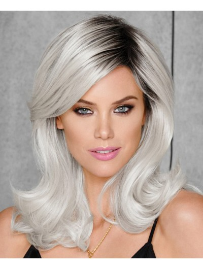 Lace Front Long Synthetic Hair Wavy Grey Wig Without Bangs