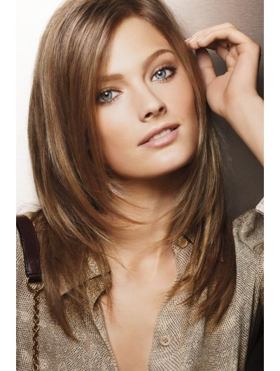 Lace Front Long Synthetic Hair Straight Brown Wig Without Bangs