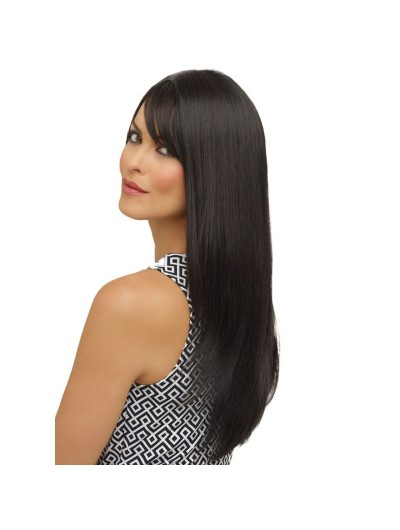 Lace Front Long Remy Human Hair Straight Black Wig With Bangs