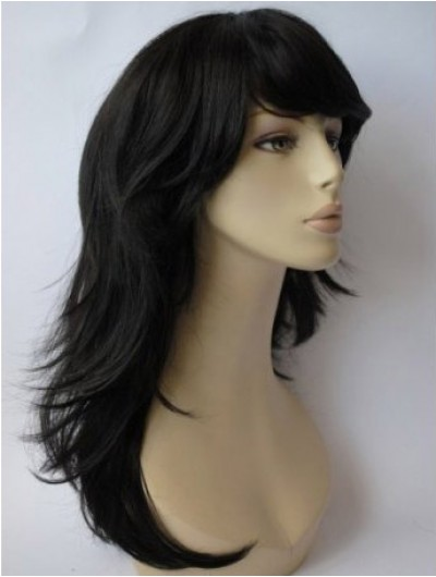 Capless Long Synthetic Hair Wavy Black Wig With Bangs