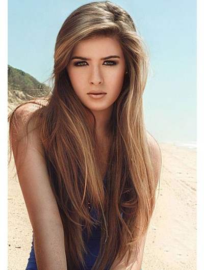 Full Lace Long Synthetic Hair Straight Wig Without Bangs