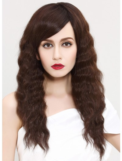 Capless Long Synthetic Hair Curly Brown Wig With Bangs