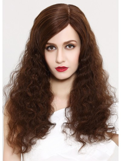 Lace Front Long Synthetic Hair Curly Brown Wig Without Bangs