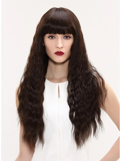 Capless Long Remy Human Hair Curly Brown Wig With Bangs