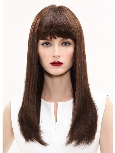 Capless Long Synthetic Hair Straight Brown Wig With Bangs