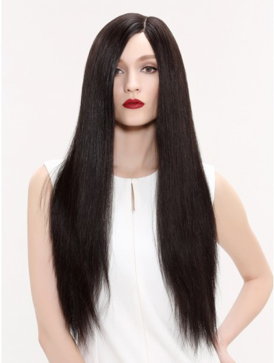 Lace Front Long Remy Human Hair Straight Brown Wig Without Bangs