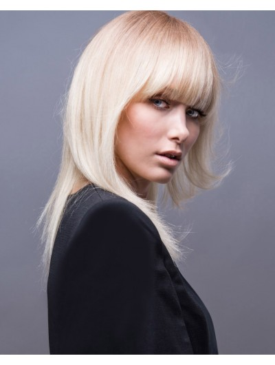 Straight Layers Blonde Wig With Bangs