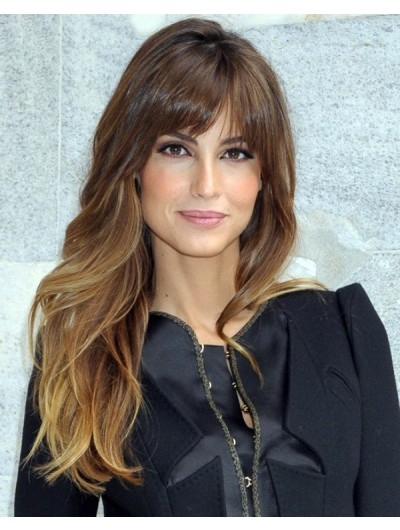 Long Brown Wavy Hair And Testured Wig With Bangs