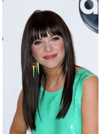 Capless Long Remy Human Hair Wig With Bangs