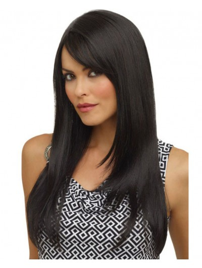 Dark Black Long Straight Wig For African
