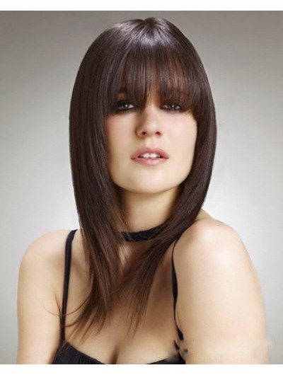 Capless Long Remy Human Hair Straight Brown Wig With Bangs
