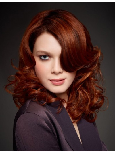 Lace Front Long Synthetic Hair Wavy Auburn Wig Without Bangs