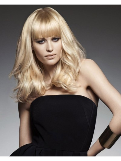 Capless Long Synthetic Hair Wavy Blonde Wig With Bangs