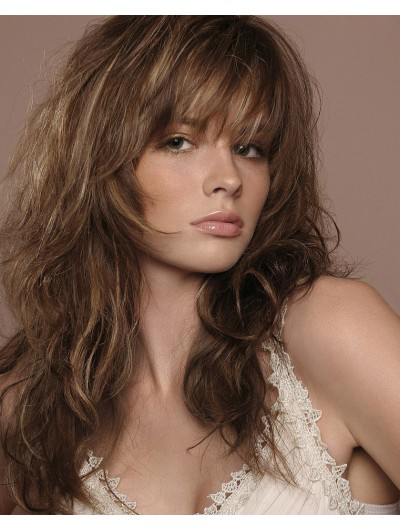 Capless Long Remy Human Hair Wavy Brown Wig With Bangs