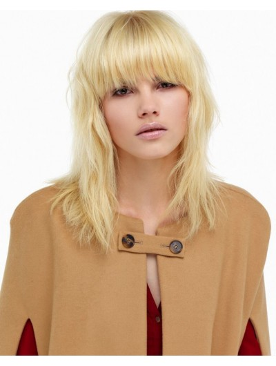 Capless Long Remy Human Hair Wavy Blonde Wig With Bangs