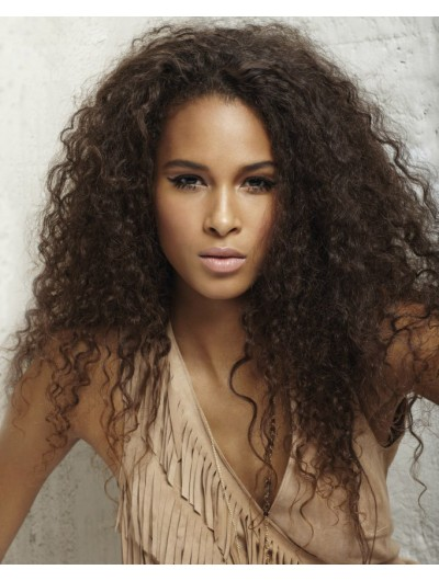 Full Lace Long Synthetic Hair Curly Brown Afro Wig