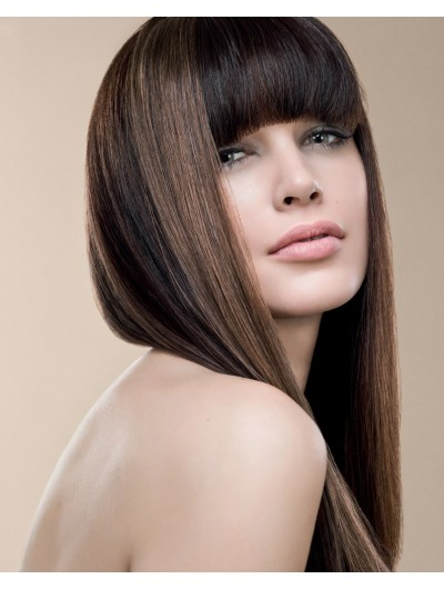 Capless Long Remy Human Hair Straight Brown Afro Wig