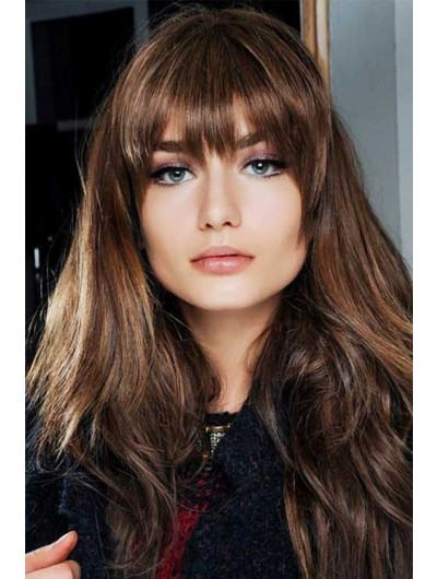Capless Long Synthetic Hair Wavy Brown Wig With Bangs