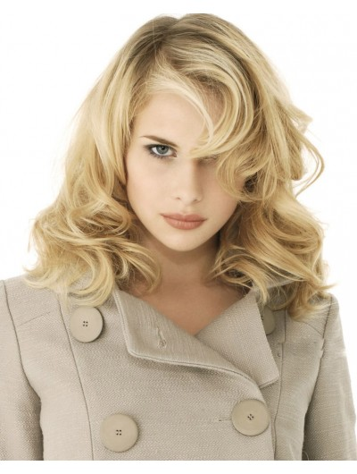 Capless Long Synthetic Hair Wavy Blonde Wig Without Bangs