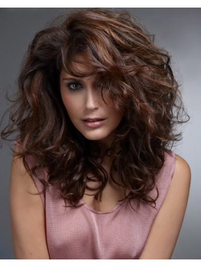 Capless Long Synthetic Hair Curly Auburn Wig Without Bangs