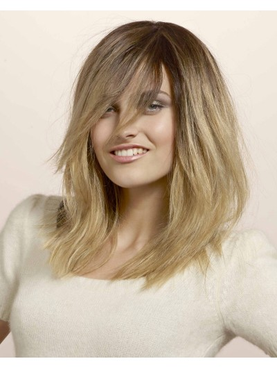 Capless Long Remy Human Hair Straight Blonde Wig With Bangs