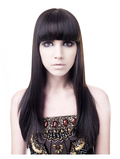 Capless Long Synthetic Hair Straight Black Wig With Bangs
