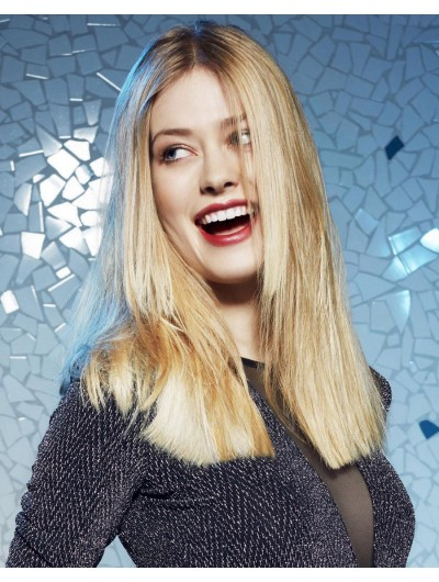 Lace Front Long Remy Human Hair Straight Blonde Wig Without Bangs