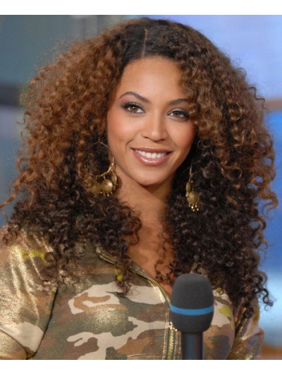 Lace Front Long Synthetic Hair Curly Brown Afro Wig