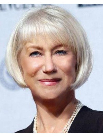 Capless Chin Length Hair Straight Grey Wig