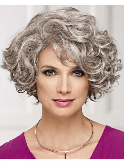 Capless Short Synthetic Hair Curly Bobs Wig