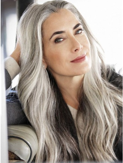 Full Lace Synthetic Hair Grey Wig Without Bangs