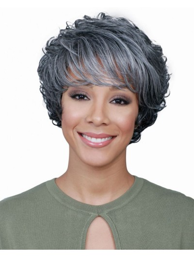 Capless Short Synthetic Hair Wavy Wig With Bangs
