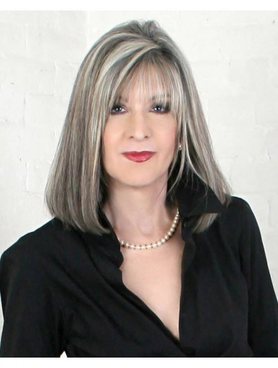 Capless Medium Straight Grey Wig With Bangs