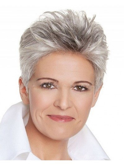 Full Lace Short Synthetic Hair Boycuts Grey Wig