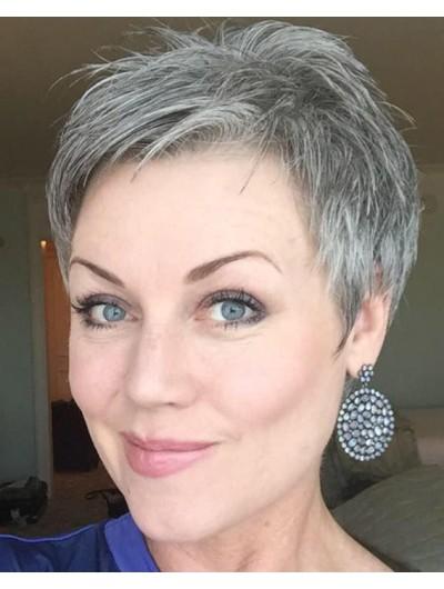 Full Lace Short Synthetic Hair Boycuts Grey Wig