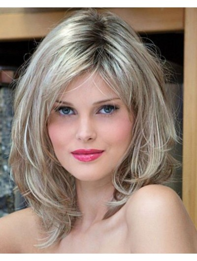 Full Lace Layered Synthetic Hair Wavy Grey Wig
