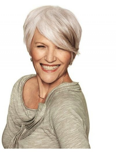 Capless Short Synthetic Hair Grey Wig With Bangs