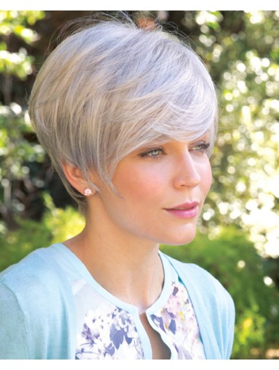 Short Synthetic Hair Wig With Bangs For Older Women