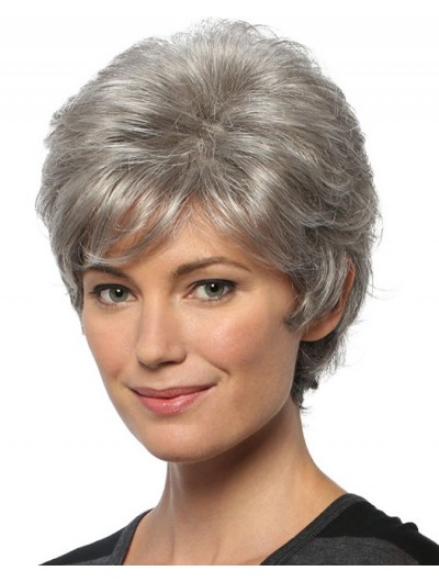 Capless Short Synthetic Hair Wavy Layered Wig