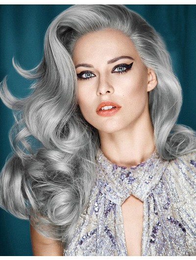 Lace Front Synthetic Hair Wavy Grey Wig Without Bangs
