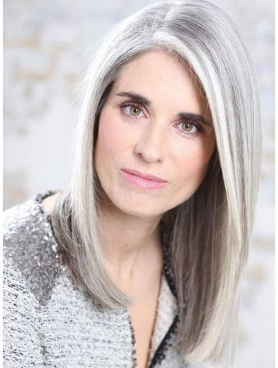 Lace Front Long Synthetic Hair Grey Wig