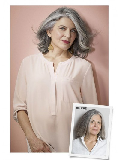 Synthetic Hair Wavy Grey Wig For Older Women