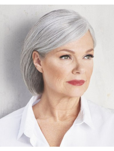 Capless Synthetic Hair Straight Grey Wig Without Bangs